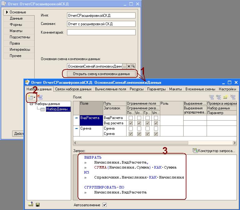 Реализация расшифровки в отчетах, создаваемых в 1С 8, — как с использованием Системы Компоновки Данных (СКД), так и без нее